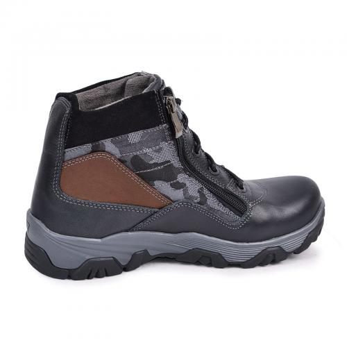 Ботинок Скипер черный кожа милитари