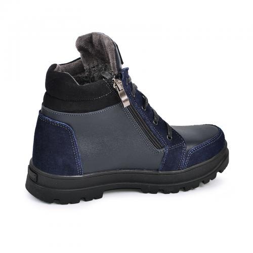 Ботинок Клок синяя кожа замш