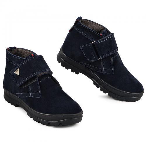 Ботинок НФ липучка синий замш
