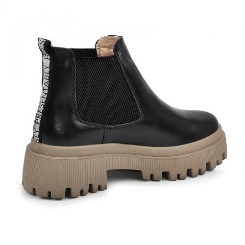 Ботинок Санта черная кожа БЕЖ д