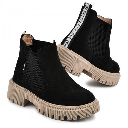 Ботинок Санта черный замш д