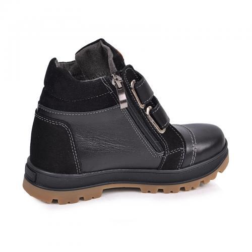Ботинок Тайм черная кожа замш