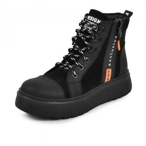 Ботинок Харли черный мат  замш