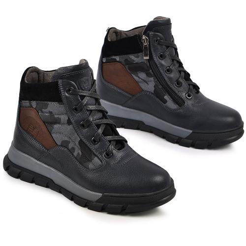 Ботинок Скипер синяя кожа милитари