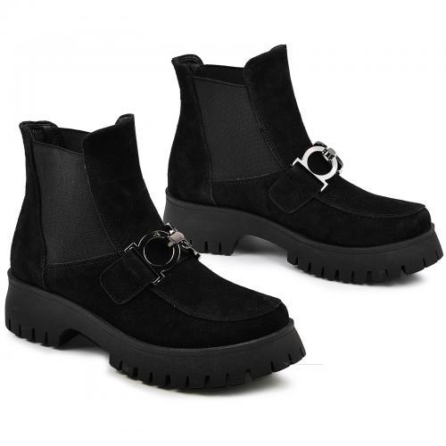 Ботинок Глосс черный замш