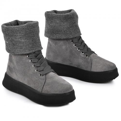 Ботинок серый замш ч с довязом