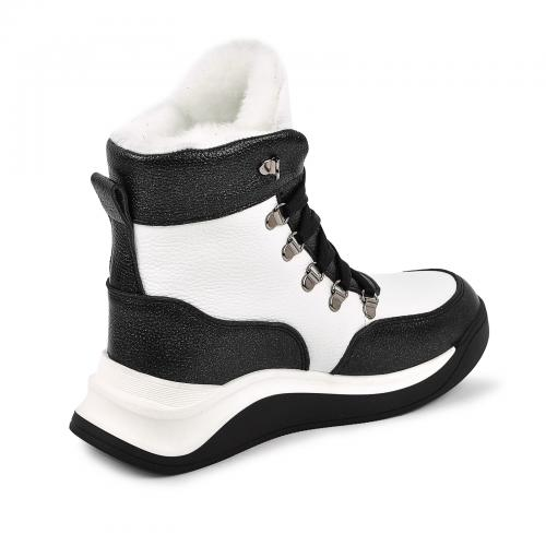 Ботинок Хами белая кожа замш