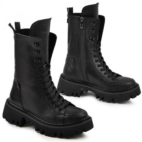 Ботинок Бона черная кожа