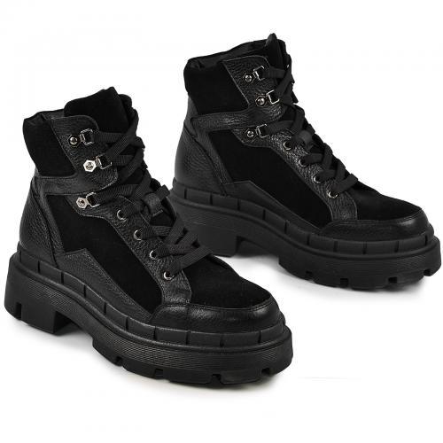 Ботинок Лера черный флотар замш