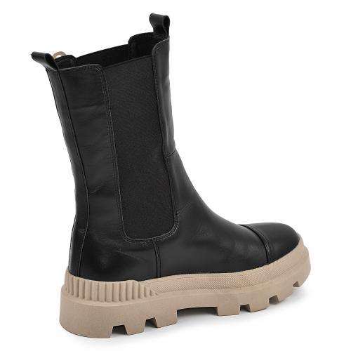 Ботинок Ника черная кожа беж