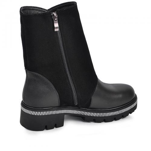 Ботинок 29201 черная кожа замш