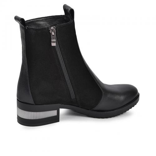 Ботинок 2941 черная кожа замш