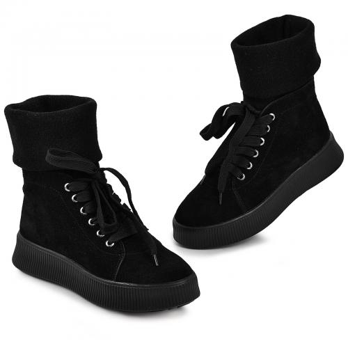 Ботинок черный замш ч с довязом