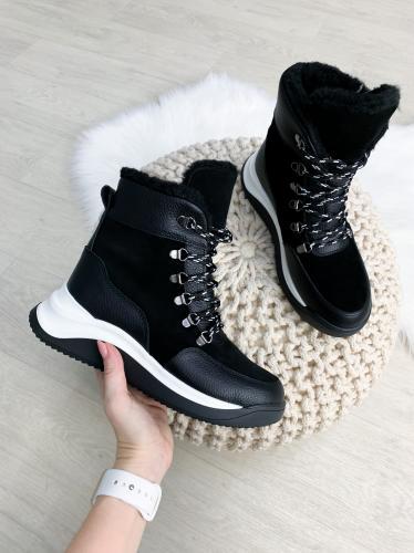 Ботинок Хами черная кожа замш