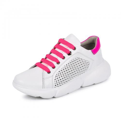 Мика 7 белая/розовая кожа перфорация