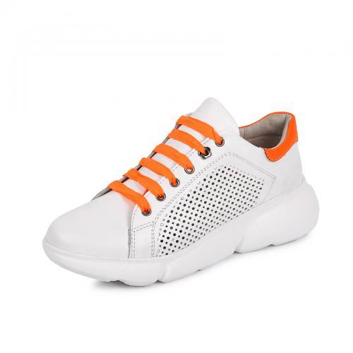 Мика 7 белая/оранжевая кожа перфорация