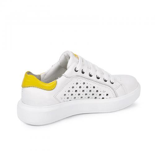 Рика 3 белая/желтая кожа перфорация