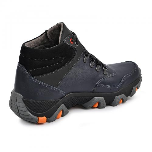 Ботинки Винтер синяя кожа нубук