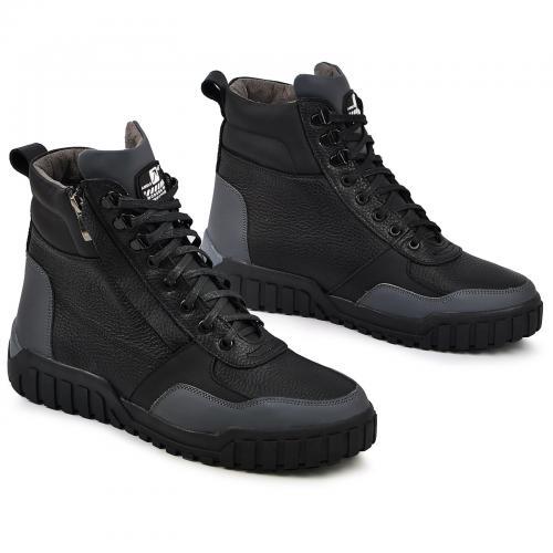Ботинки Игл серая кожа черный флотар