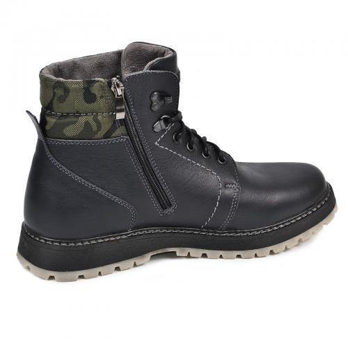 Ботинки Кет 3 синяя кожа милитари