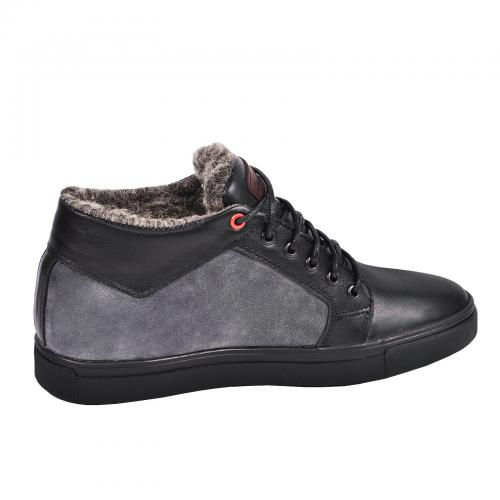 Ботинки Регби черная кожа, серый замш