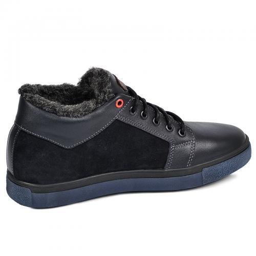 Ботинки Регби синяя кожа замш
