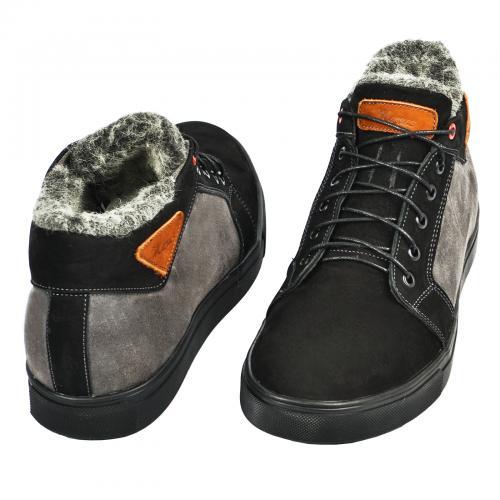 Ботинки Регби черный-серый замш