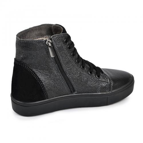 Ботинок Челси Р темный сатин кожа