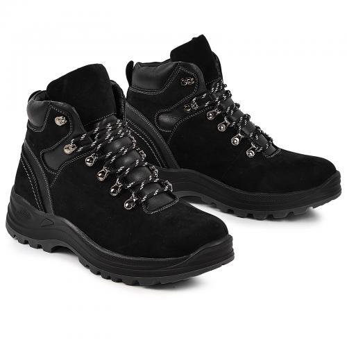Ботинки 4001 черный замш кожа