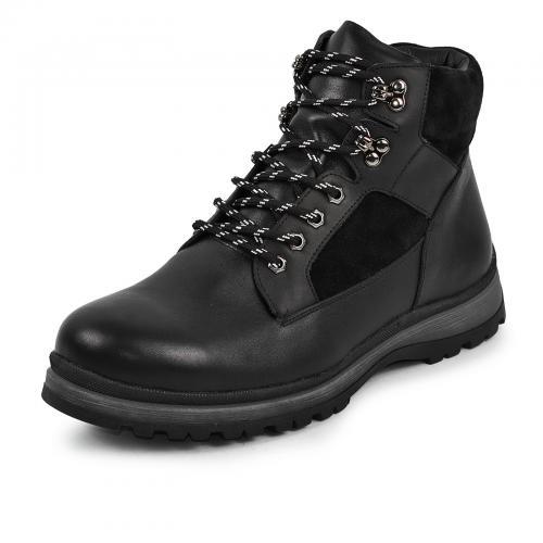 Ботинки 4003 черная кожа замш