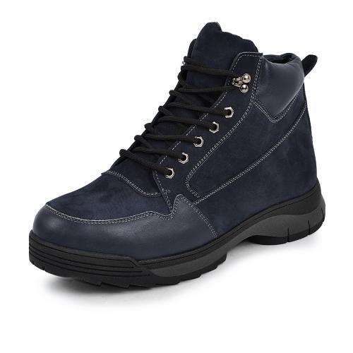 Ботинки 4007 синяя кожа замш