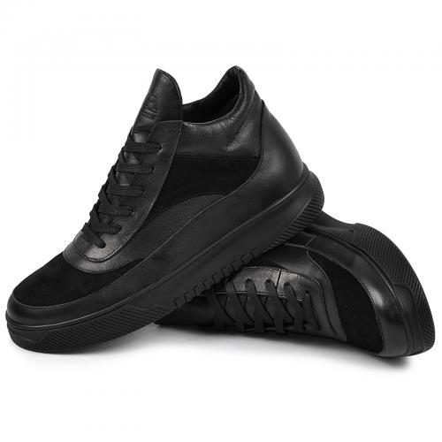 Ботинки 4014 черная кожа нубук
